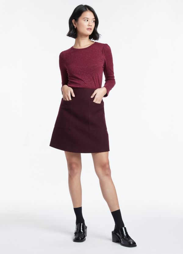 FELTED WOOL PATCH POCKET SKIRT