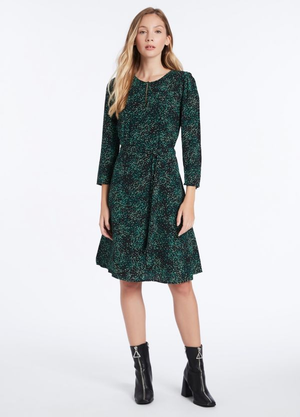 GREEN ANIMALIA VISCOSE GGT DRESS