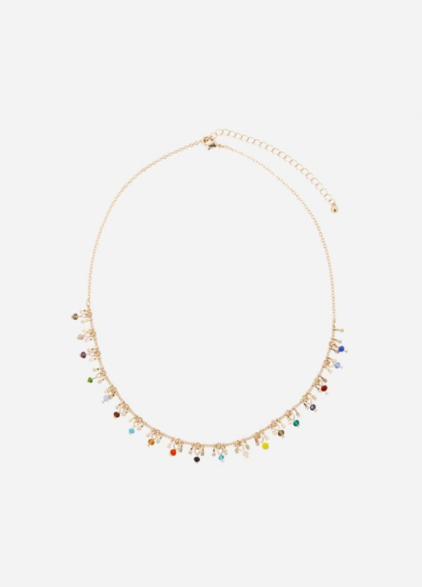 COLOURED BEAD & CHARM NECKLACE