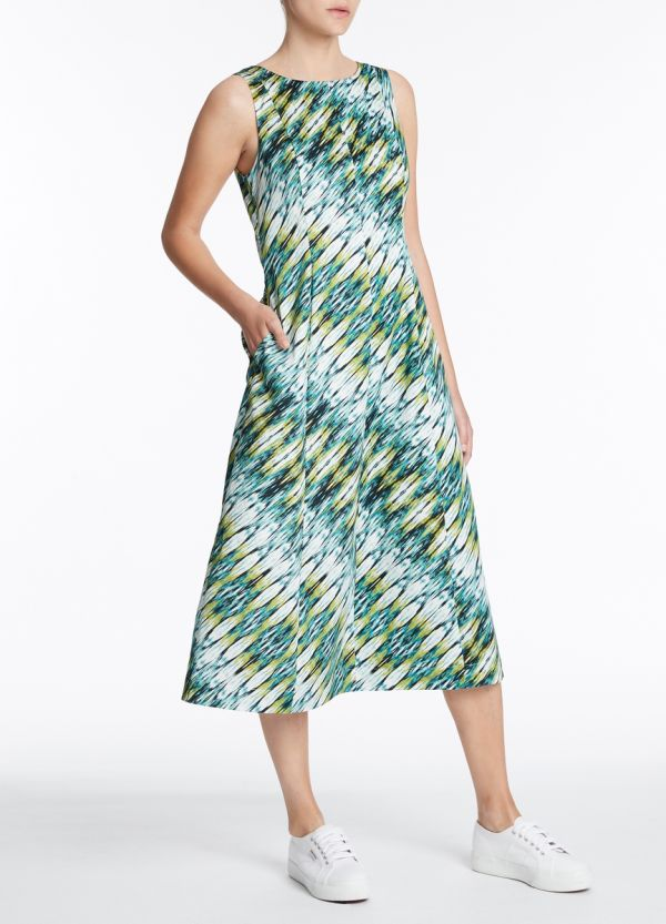 IKAT PRINTED SATEEN DRESS
