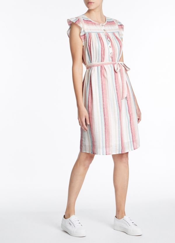 RAINBOW STRIPE LINEN DRESS