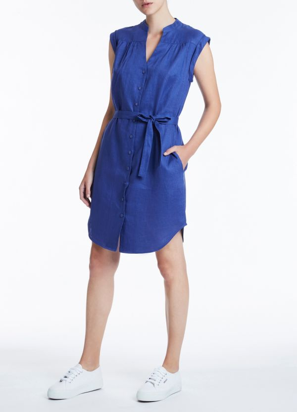 SAPPHIRE WASHED LINEN DRESS