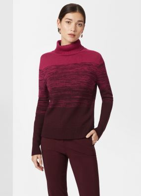 OMBRE ROLL NECK KNIT