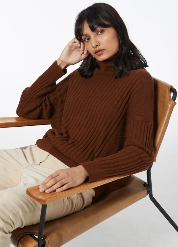 ROLL NECK RIB KNIT
