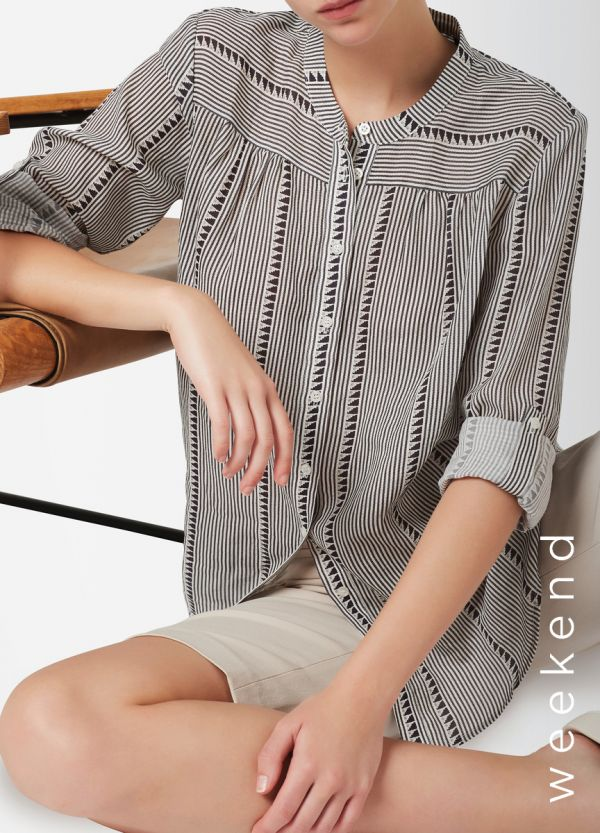 ELLEN STRIPE PRINTED BLOUSE