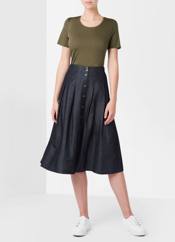 TESSA TENCEL PLEATED SKIRT