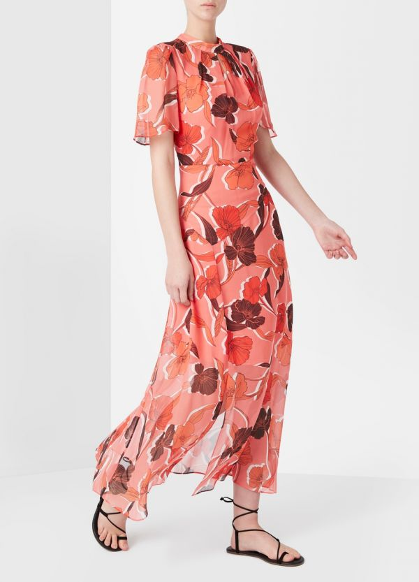 CALLISTE SILK MIDI DRESS