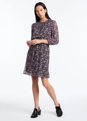 HELLO PETAL PRINTED SILK DRESS