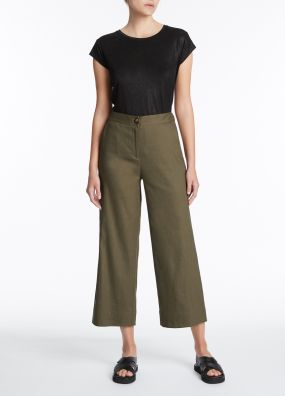 EVA STRETCH LINEN WIDE LEG PANT